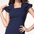 Stylish Midi Pencil Dress with Frill Sleeves - Navy Blue (L)