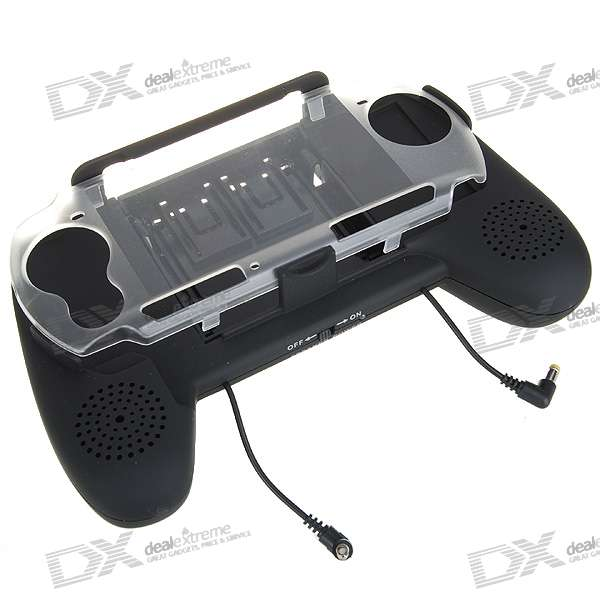 3*AAA Powered Battery Pack Hand Grip + Amplified Speakers for PSP 3000