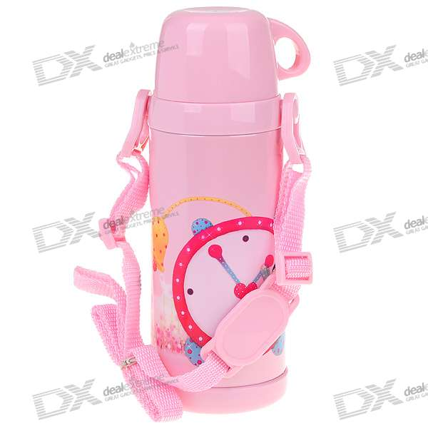 Cute Stainless Steel Vacuum Bottle with Cup and Strap for Child (350ml) updated xiaomi kiss kiss fish 525ml function cook egg tea nutrition cup with oled temperature screen stainless steel vacuum cup