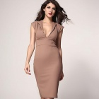Stylish Plunge Neckline Midi Pencil Dress - Khaki (L)