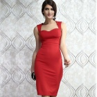 Sexy Cut-out Back Skinny Tight Midi Dress - Red