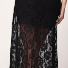 Sexy See-through Lace Maxi Dress - Black