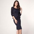 Elegant Stylish Mesh Cut-out Midi Dress w/ Peplum Detail - Deep Blue