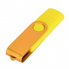Ourspop SJ-20 Rotary USB 2.0 Flash Disk w/ Micro USB - Yellow + Golden (64GB)