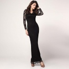 Stylish Sexy See-though Lace Long Sleeve Maxi Dress - Black