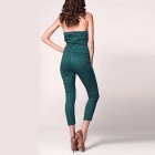 Sexy Strapless Sleeveless V-Neck Siamese Pants - Green (Size L)
