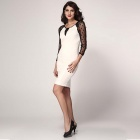 Sexy Frauen-See-Through Lace Rundhals Kleid - White + Black