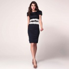 Stylish Lace Waistband Detailed Midi Pencil Dress w/ Belt - Black + White (L)