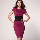Stylish Lace Waistband Detailed Midi Pencil Dress w/ Belt - Black + Wine Red (L)