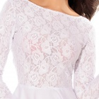 Sweet Sexy Cut-out Back Long Sleeve Lace Dress - White