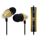 Bingle i809 3.5mm In-Ear Earphone w/ Microphone / Volume Control - Black + Golden