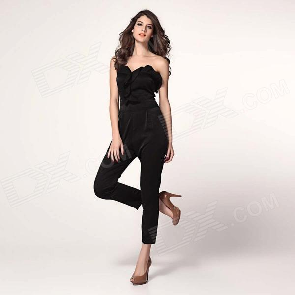 LC6225-1 Fashionable Retro Frill Front Style Bandeau Jumpsuit - Black (L) nowley nowley 8 6225 0 4