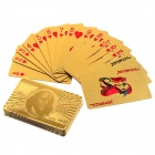 USD100 Pattern 24K Gold-Foil Plated Playing Cards Poker w/ Wooden Gift Box
