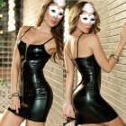 Women's Fashionable Sexy Pole Dance Style Cosplay Role Play Sleep Dress Set - Black