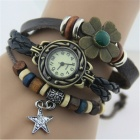 Women's Split Leather Band Stainless Steel Quartz Analog Bracelet Watch - Dark Brown