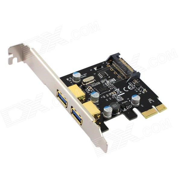 2-Port USB 3.0 + 1 SATA 3.0 Power Port SuperSpeed PCI-E Controller Card - BlackForm ColorBlackBrandN/AModelPCE2USB-R01Quantity1 DX.PCM.Model.AttributeModel.UnitMaterialPCBSupports SystemWin xp,Win 2000,Win 2008,Win vista,Win7 32,Win7 64,Win8 32,Win8 64Other Features2 x USB 3.0  Port<br>1 x SATA 3.0  PortPacking List1 x PCI-E USB3.0+ 1 SATA 3.0  PCI-E Controller Card1 x CD<br>