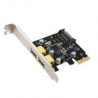 2-Port USB 3.0 + 1 SATA 3.0 Power Port SuperSpeed PCI-E Controller Card - Black