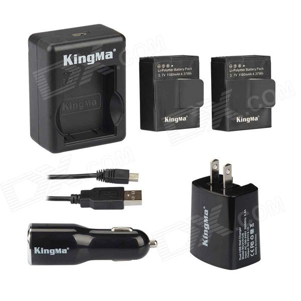 Kingma AC/Car Charger w/ Dual USB Port + 2 Batteries Set for Gopro 3 / 3+ - Black thor t1 car charger stainless steel safety hammer dual usb smart car charger