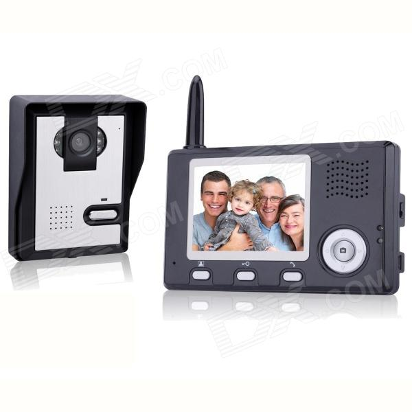 3.5 Inch Wireless Visible Doorbell w/ Night Vision, Camera, Monitor, US Plug - Black