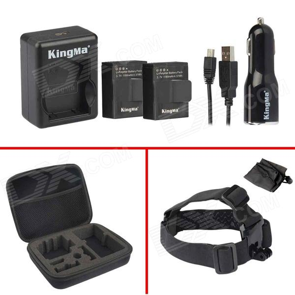 Kingma Rechargeable Battery + Car Charger + Head Strap + Bag for Gopro 3 / 3+ - Black 3pcs battery and european regulation charger with 1 cable 3 line for mjx b3 helicopter 7 4v 1800mah 25c aircraft parts