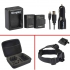 Kingma Rechargeable Battery + Car Charger + Head Strap + Bag for Gopro 3 / 3+ - Black