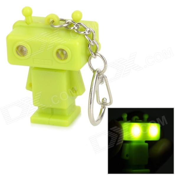 Robot Style 2-LED White Light Keychain w/ Sound Effect - Green (3 x AG10) dinosaur style led purple light keychain w sound effect green white 3 x ag10