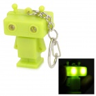 Robot Style 2-LED White Light Keychain w/ Sound Effect - Green (3 x AG10)