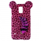 Leopard Print Style Protective Plastic Back Case w/ Tail for Samsung Galaxy S5 - Black + Deep Pink