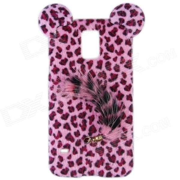 все цены на Leopard Print Style Protective Plastic Back Case w/ Tail for Samsung Galaxy S5 - Pink + Black онлайн