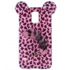 Leopard Print Style Protective Plastic Back Case w/ Tail for Samsung Galaxy S5 - Pink + Black