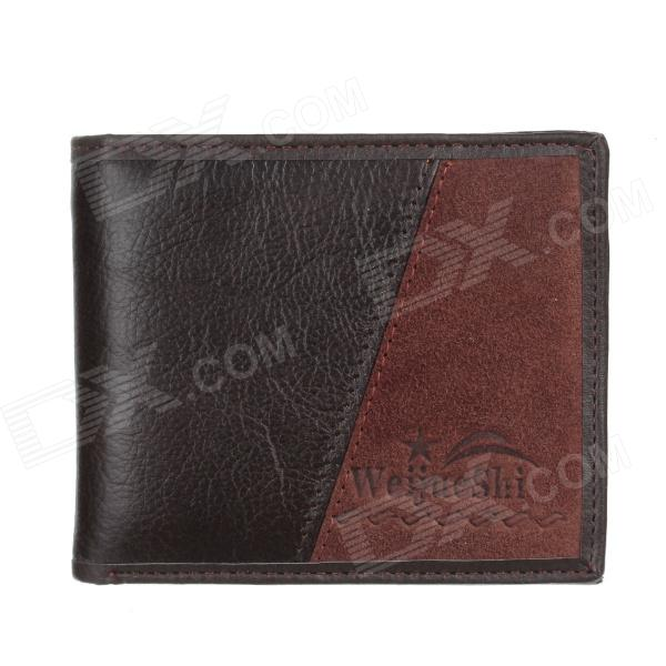 WEIJUESHI Men's Fashion PU Purse Wallet - Coffee + Deep Brown