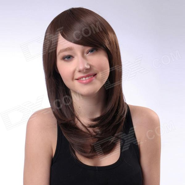 Capless Extra Long Straight Synthetic Hair Wig - Coffee