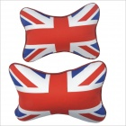 Carking CS-30 Flag Patterned Vehicle Car Seat Head Neck Rest Pillow - White + Red + Blue (2pcs)
