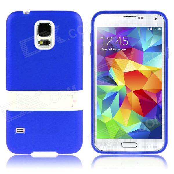 ENKAY Protective TPU Case w/ Stand for Samsung Galaxy S5 Mini G800 - Deep Blue