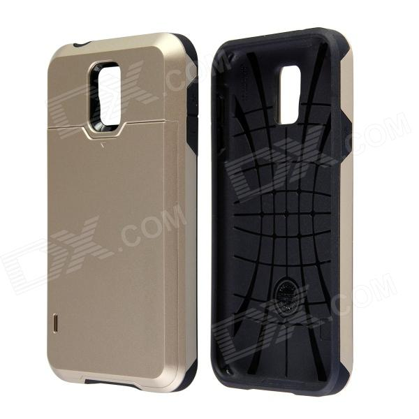 Fashionable PC + Silicone Slim Back Case w/ Card Holder Slider for Samsung Galaxy S5 - Golden metal ring holder combo phone bag luxury shockproof case for samsung galaxy note 8