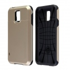 Fashionable PC + Silicone Slim Back Case w/ Card Holder Slider for Samsung Galaxy S5 - Golden