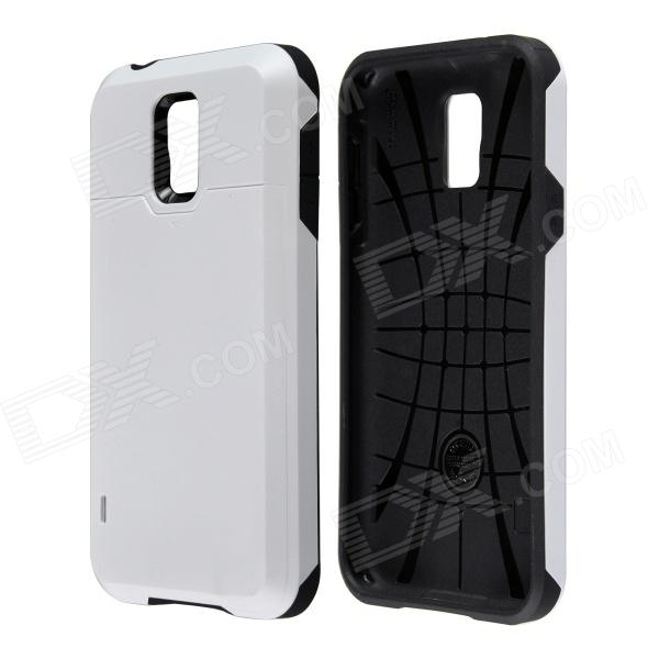 Fashionable PC + Silicone Slim Back Case with Card Holder Slider for Samsung Galaxy S5 - White