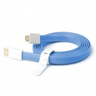 Fonemax Gold Plated Micro USB Data Charging Flat Cable for Samsung - Blue (1.2m)