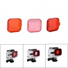 JUSTONE Professional Diving Housing Orange / Red / Pink Filters for GoPro Hero 3