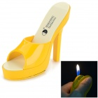 Creative Women's High-Heeled Slippers Shoes Butane Lighter - Yellow