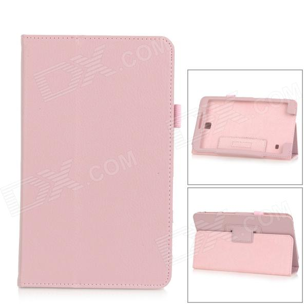 Litchi Pattern Flip-open PU Leather Case w/ Holder for Samsung Galaxy Tab 4 8.0 T330 - Light Pink