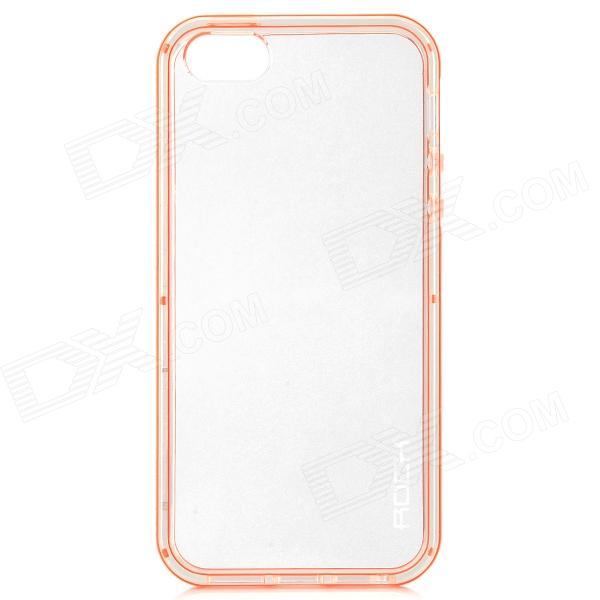 Protective LED Flash Light TPU Case for IPHONE 5 / 5S - Transparent + Orange mercury goospery flash powder gel tpu case cover for iphone se 5s 5 cyan