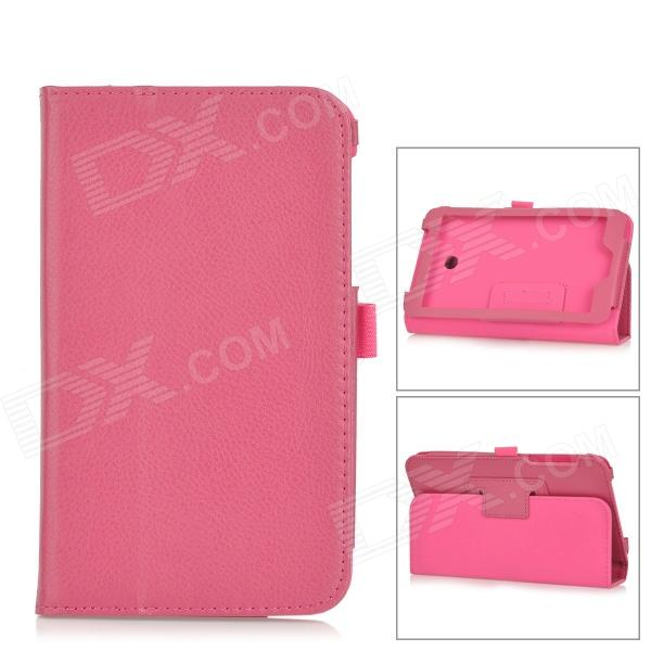 Lichee Pattern PU Leather Full Body Case w/ Stand for Asus FonePad 7 FE170CG - Deep Pink