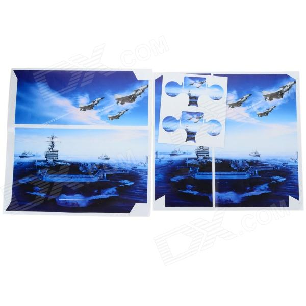Aircraft Carrier Pattern Protective PVC Sticker for PS4 - Blue + White protective pvc sticker remote controller sticker for xbox 360 slim purple blue