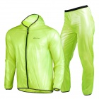 NUCKILY MJ001 / MP001 Cycling Hooded Rain Coat + Pants Windbreaker Suit - Fluorescent Green (L)