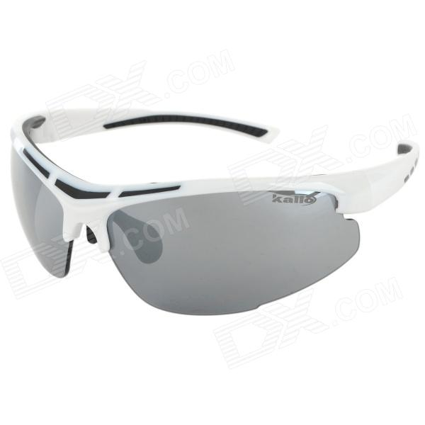 KALLO MX1002 PC Lens TR90 Frame UV400 Protection Cycling Sunglasses - White + Black + Grey