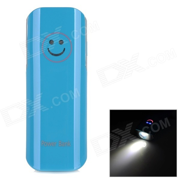 YD332 Universal 2600mAh External Li-ion Battery Power Bank w/ LED Flashlight + Adapters - Blue portable emergency 5v 2600mah li ion battery power bank w 1w led lamp keychain white