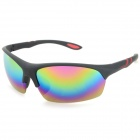 Stylish Resin Lens PC Frame UV400 Protection Sports Cycling Sunglasses - Black + Blue + Red REVO
