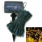 Solar Powered 0.64W 10lm 595nm 200-LED Yellow Christmas Party String Fairy light - Green (20.5M)