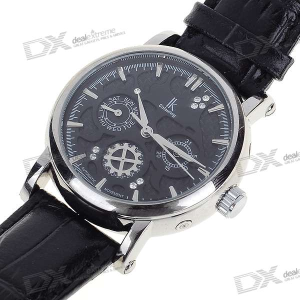 Leather Band + Stainless Steel Self-Winding Mechanical Wrist Watch